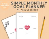 Monthly Goal Planner Printable, DIGITAL DOWNLOAD