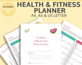 Fitness Planner Printable - includes: weight loss, habit, measurement and water bottle trackers and a meal planner, DIGITAL DOWNLOAD