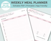 Blush Editable Weekly Meal Planner and Food Journal. Editable PDF and GoodNotes friendly. Digital download.