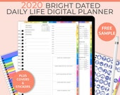 Bright portrait Digital Life Planner, daily planner 2020. GoodNotes Template for a digital planner 2020 used as a digital bullet journal