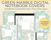 Digital Notebook Cover Template |  Green Marble Planner DigiBujo Cover | Tablet Android iPad planner | GoodNotes Notability Noteshelf