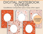5 Digital Notebook covers, GoodNotes template, Notability cover, bullet journal, digital planner, iPad planner - Autumn Orange Ditsy Flower