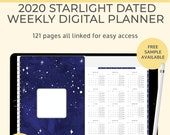 Starlight Digital 2020 weekly planner. Landscape Goodnotes template use as a productivity planner or a digital bullet journal