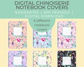 6 Digital Notebook covers, Chinoiserie, goodnotes cover, notability cover, goodnotes template, bullet journal, digital planner, iPad planner
