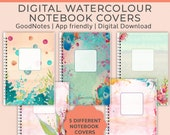 5 Digital Notebook covers, watercolor, goodnotes cover, notability cover, goodnotes template, bullet journal, digital planner, iPad journal