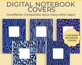 5 Digital Notebook covers, GoodNotes template, Notability cover, bullet journal, digital planner, iPad planner - Blue Animal Print