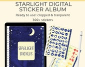 Starlight Digital planner stickers. Tabbed Watercolor Sticker Album for Goodnotes and Notability sticker sheet.