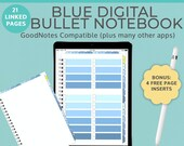 Blue Digital Goodnotes Notebook Planner with tabs | Bullet Journal Goodnotes template | iPad Tablet Android Noteshelf Blank Portrait