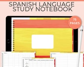Spanish Language Study Notebook. Learn a language with this language planner self-study kit for verbs, nouns and phrases. GoodNotes template