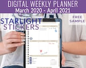 Starlight Digital 2020 weekly planner. Portrait digital notebook productivity planner or bullet journal. Ipad planner or notability planner