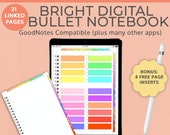 Bright Digital Notebook Goodnotes Planner with tabs | Bullet Journal  Goodnotes template  | iPad Tablet Android Noteshelf  Blank Landscape