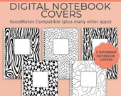 5 Digital Notebook covers, Black & White Abstract, GoodNotes template, Notability cover, bullet journal, digital planner, iPad planner