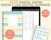 Pastel Digital Life Planner 2020 weekly planner. Portrait Goodnotes Template for a 2020 digital planner used as a digital bullet journal