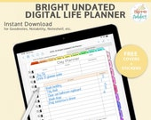 Bright Digital Life Planner. Undated digital Planner productivity planner for iPad Pro Planner. GoodNotes template stickers and covers