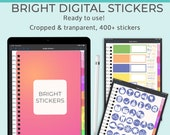 Bright digital planner stickers. GoodNotes stickers in a tabbed and hyperlinked sticker album or sticker book. Clip art for bullet journal.