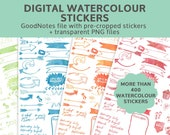 Watercolor digital planner stickers | GoodNotes & iPad Stickers | DIGITAL DOWNLOAD