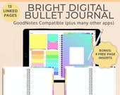 Bright Digital Notebook Bullet Journal | Goodnotes template | Landscape | iPad Tablet Android Planner | Notability Noteshelf journal