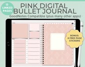 Pink Digital Notebook Bullet Journal | Goodnotes template | Landscape | iPad Tablet Android Planner | Notability Noteshelf journal