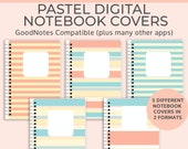 Striped pastel digital notebook cover. Spiral notebook cover, binder cover. Digital bullet journal cover or ipad planner cover for Goodnotes