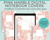 5 Marble Digital Notebook covers, GoodNotes template, Notability cover, bullet journal, digital planner, iPad planner - Pink