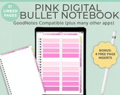 Pink Digital Notebook Goodnotes Planner with tabs | Bullet Journal Goodnotes template | iPad Tablet Android Noteshelf Blank Portrait