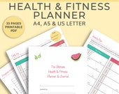 Fitness Planner Printable - includes: weight loss, habit, workout and water bottle trackers and a meal planner, digital download