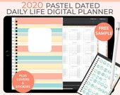 Pastel Digital Life Planner 2020 daily planner. Landscape GoodNotes Template for a 2020 digital planner used as a digital bullet journal