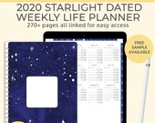 Starlight Digital Life Planner, 2020 weekly planner. Portrait Goodnotes template for a Ipad Pro planner or a digital bullet journal