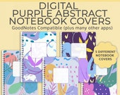 5 Digital Notebook covers, purple Abstract, goodnotes cover, notability, goodnotes template, bullet journal, digital planner, iPad planner