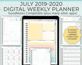 July 2019-2020 digital weekly planner. 12 month Student Planner. Ideal for iPad,Tablet and Android. Use in GoodNotes Notability, Noteshelf.