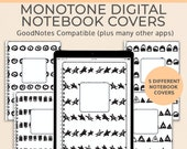 5 Monotone Digital Notebook covers, GoodNotes template, Notability cover, bullet journal, digital planner, iPad planner - V2