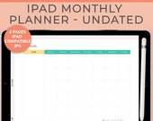 Undated iPad Monthly Planner Calendar Printable, Productivity Planner, To Do List, DIGITAL DOWNLOAD