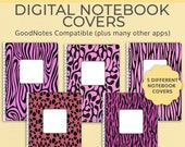 5 Digital Notebook covers, GoodNotes template, Notability cover, bullet journal, digital planner, iPad planner - Pink Animal Print