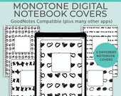 5 Monotone Digital Notebook covers, GoodNotes template, Notability cover, bullet journal, digital planner, iPad planner - V1