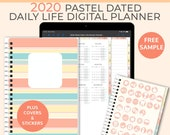 Pastel Digital Life Planner 2020 daily planner. Portrait Goodnotes Template for a 2020 digital planner used as a digital bullet journal