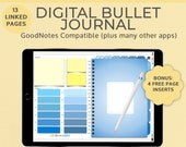 Blue Digital Notebook Bullet Journal | Goodnotes template | Landscape | iPad Tablet Android Planner | Notability Noteshelf journal