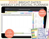 Bright Digital Life Planner, 2020 weekly planner. Landscape Goodnotes Template for a 2020 digital planner used as a digital bullet journal