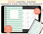 Pastel Digital Life Planner, weekly planner 2020. Landscape Goodnotes Template for a 2020 digital planner used as a digital bullet journal