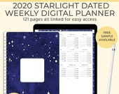 Starlight Digital 2020 weekly planner. Portrait Goodnotes template for an Ipad pro planner or a digital bullet journal