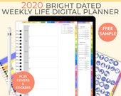 Bright portrait Digital Life Planner, weekly planner 2020. Goodnotes Template for a 2020 digital planner used as a digital bullet journal