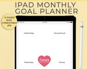 iPad Monthly Goal Planner, DIGITAL DOWNLOAD