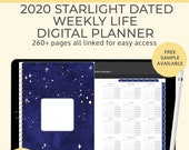 Starlight Digital Life Planner, 2020 weekly planner. Landscape Goodnotes template for a productivity planner or a digital bullet journal