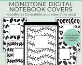 5 Monotone Digital Notebook covers, GoodNotes template, Notability cover, bullet journal, digital planner, iPad planner - V3
