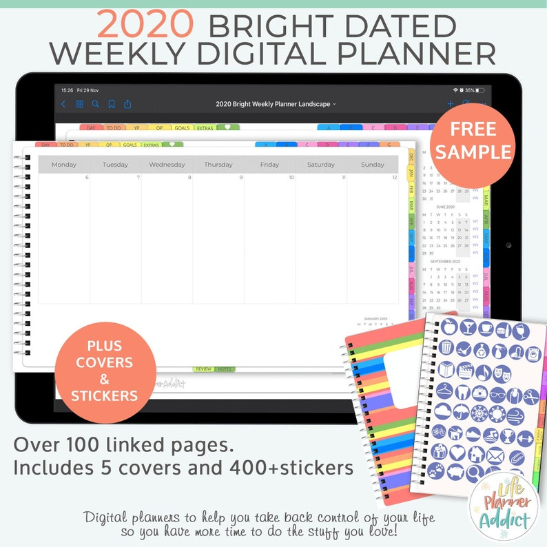 Bright digital planner 2020 weekly planner. Landscape business image 0