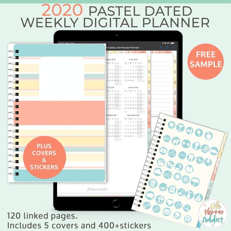 Pastel digital 2020 weekly planner. Portrait business planner image 0