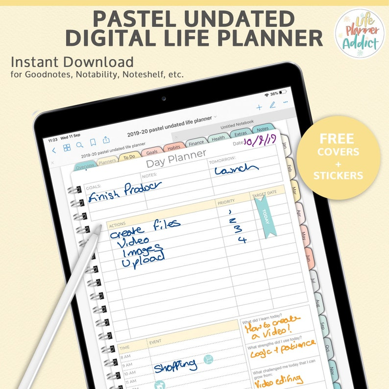 Pastel Digital Life Planner portrait. Undated Planner as a image 0