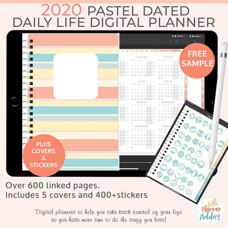 Pastel Digital Life Planner 2020 daily planner. Landscape image 0