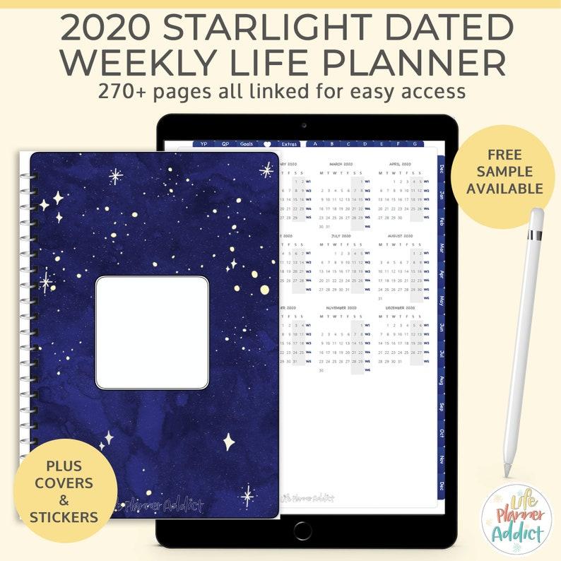 Starlight Digital Life Planner 2020 weekly planner. Portrait image 0