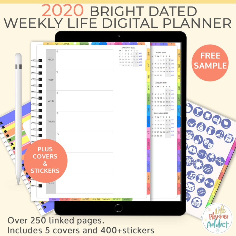 Bright portrait Digital Life Planner weekly planner 2020. image 0