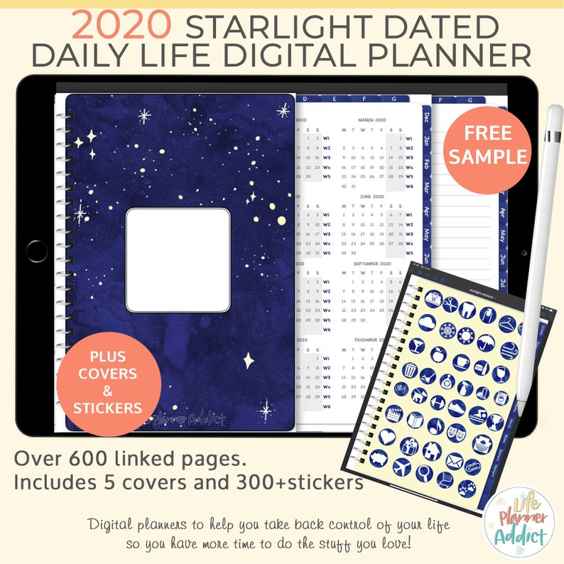 Starlight Digital Life Planner daily planner 2020. Landscape image 0